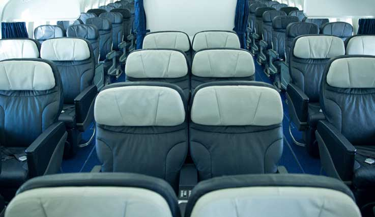 Seats in a 2x2x2 configuration on Boeing 767 aircraft