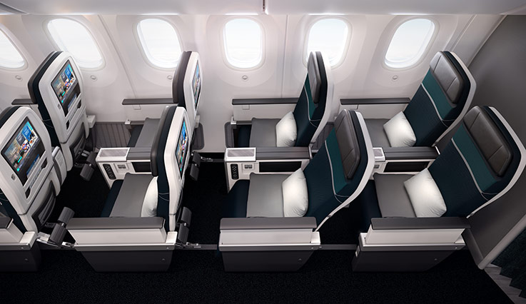 A view of Premium seats with more space in the WestJet Boeing 767 aircraft.