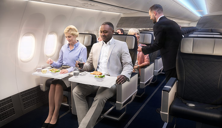 Guests dining on plane