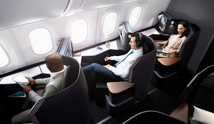 Guest enjoys extra space in Premium seats on a WestJet Boeing 737