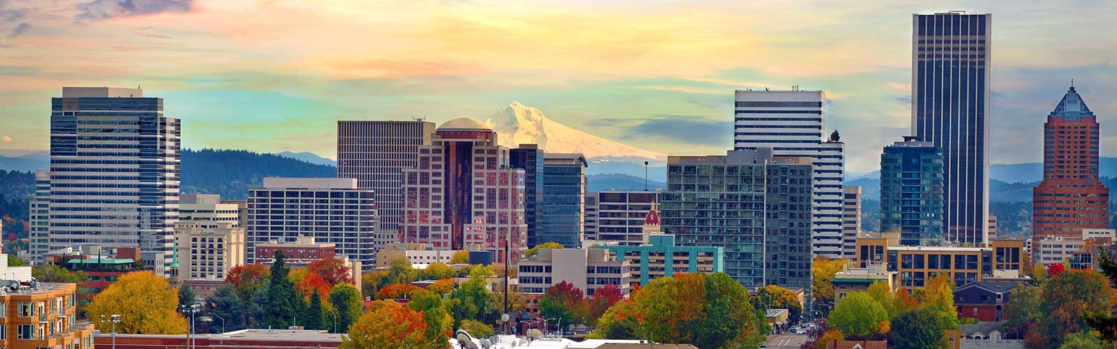 Mount Hood on Portland skyline.