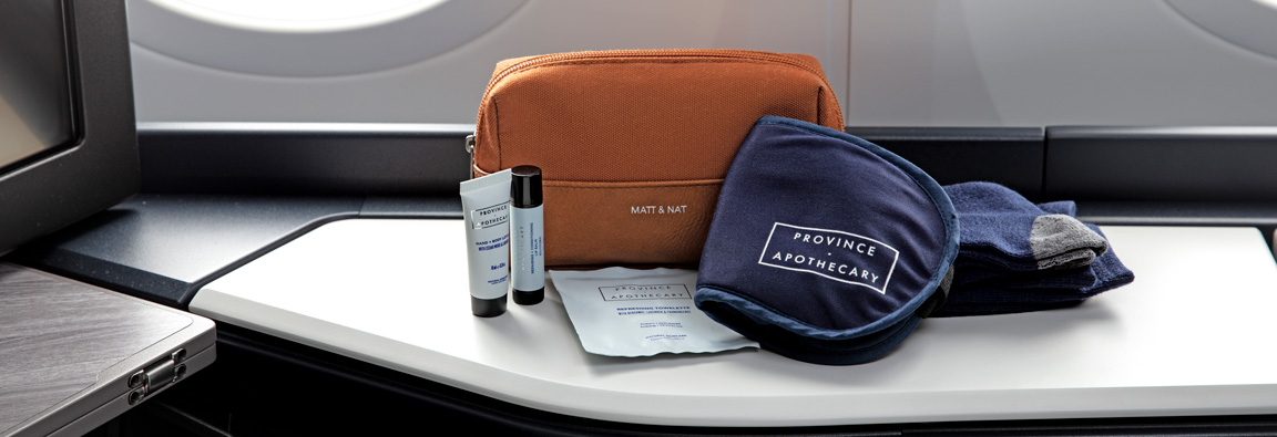 Amenities Amenity kit provided to Business cabin guests on the WestJet 787 Dreamliner