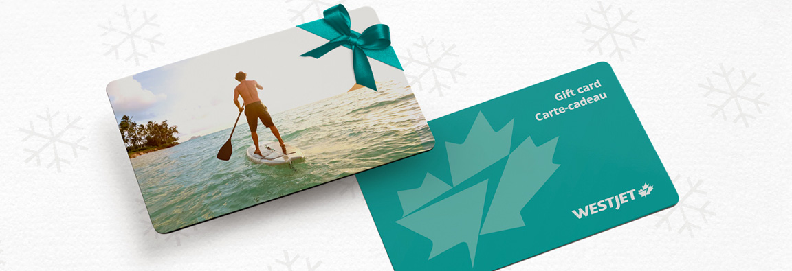 Paddle boarder featured on WestJet holiday gift card