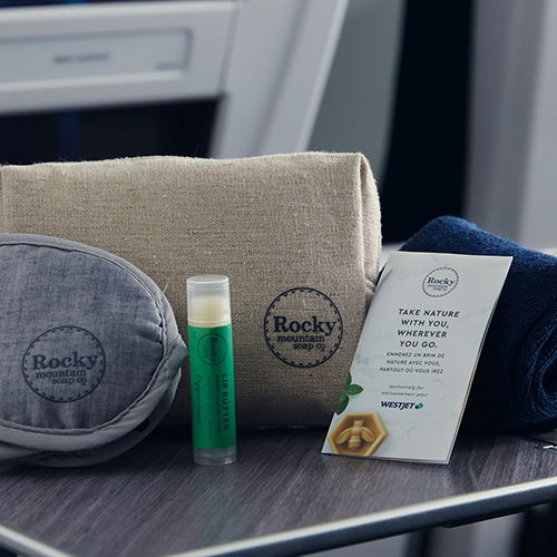 Rocky Mountain Soap Company amenity kit displaying a variety of their exclusive products.