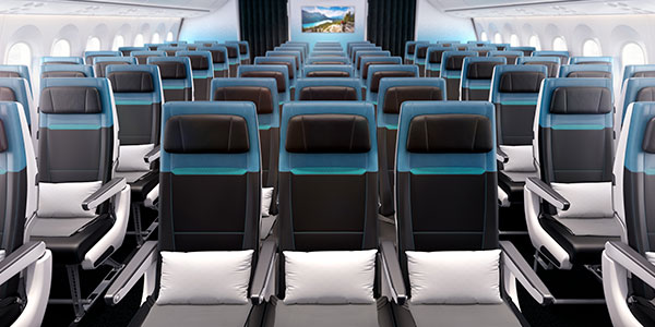 Clean seats inside 787 Dreamliner