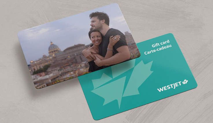 WestJet gift card featuring a couple embracing in Rome