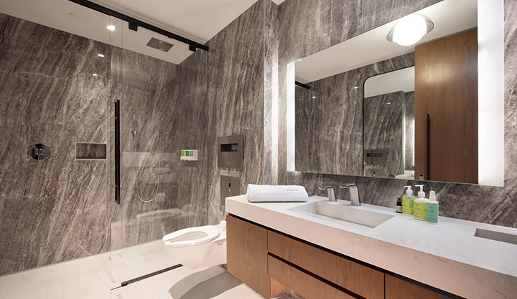 Pristine shower and bathroom space