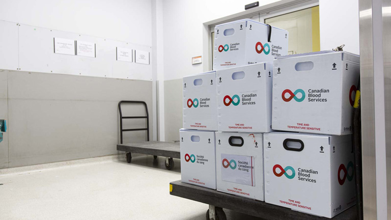 Boxes from Canadian Blood Services ready for transport through WestJet's Cargo services