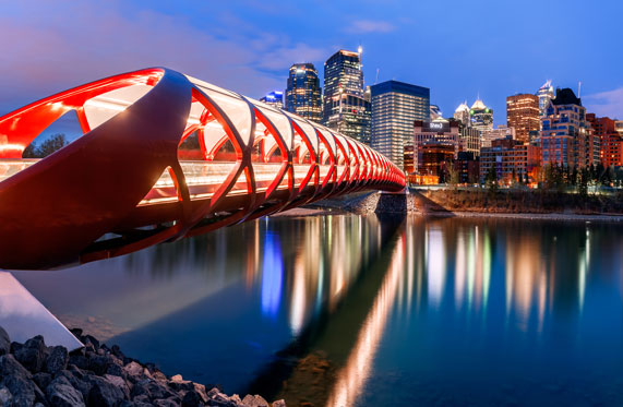 Peace bridge looking toward downtown Calgary