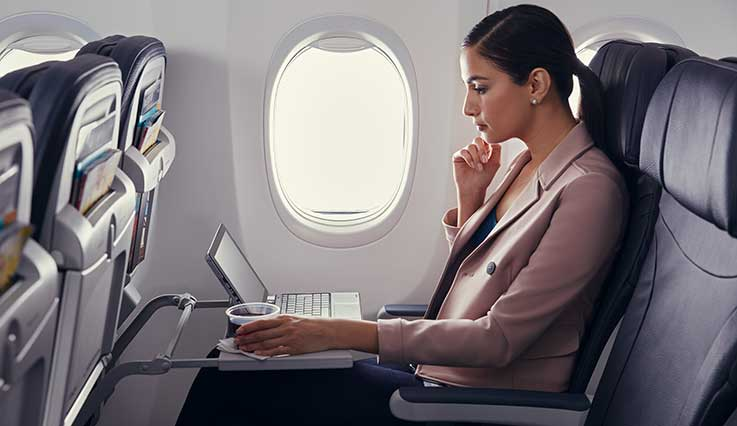 Business professional on laptop in Economy cabin