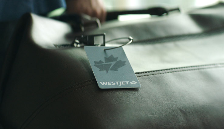 Platinum luggage tag on a briefcase