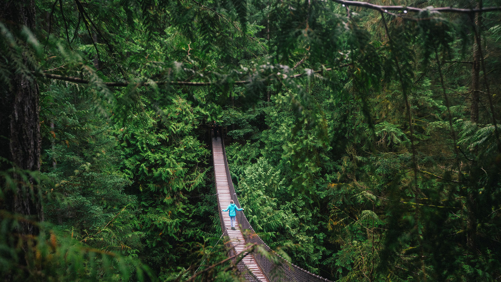 Woman walking on a suspension bridge