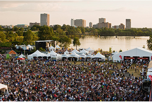 Showing slide 4 of 21 in image gallery, Aerial view of people enjoying Bluesfest in Ottawa