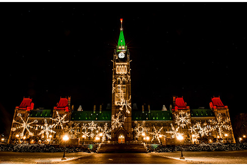 Showing slide 9 of 21 in image gallery, Christmas lights on Parliament Hill in Ottawa