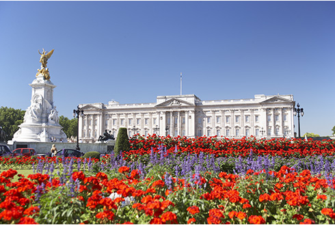 Showing slide 2 of 16 in image gallery, Buckingham Palace With Flowers Blooming In The Queen's Garden