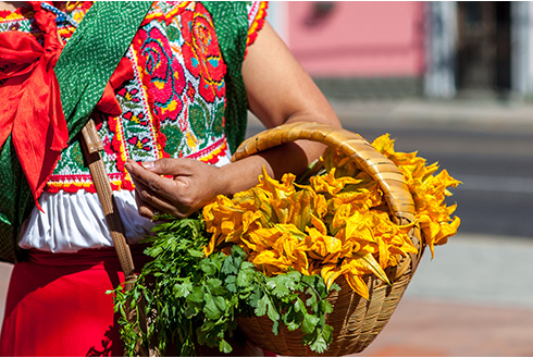 Showing slide 7 of 8 in image gallery, Woman carrying vegetables wearing a traditional Mexican dress