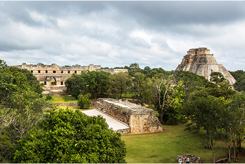 Showing slide 15 of 31 in image gallery, View of an ancient Mayan pyramid in Uxmal, Mexico