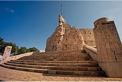 Showing slide 12 of 31 in image gallery, Banderas monumentales statue in the Yucatán