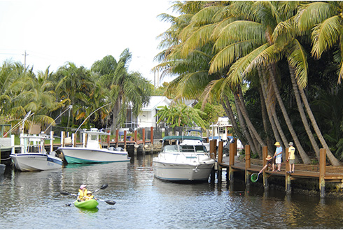 Showing slide 3 of 22 in image gallery, Fort Lauderdale Florida kayaking along the canals