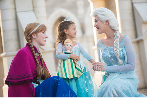 Showing slide 9 of 20 in image gallery, Disney characters Anna and Elsa in princess dresses with a guest