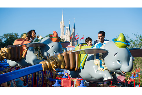 Showing slide 20 of 20 in image gallery, Guests on Dumbo the Flying Elephant ride in Walt Disney World