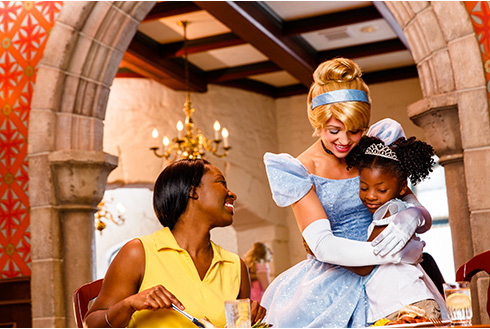 Showing slide 14 of 20 in image gallery, Guests at Character Dining with Cinderella