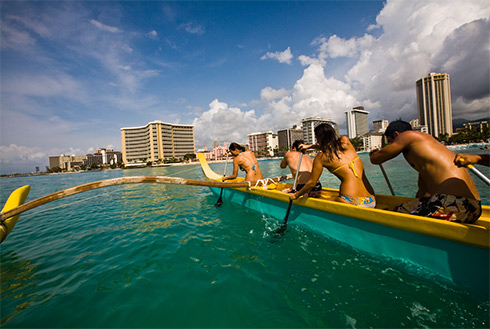 Showing slide 9 of 24 in image gallery, Outrigger canoe off Honolulu, Oahu