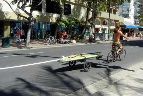 Showing slide 14 of 24 in image gallery, Towing a surfboard, Honolulu, Oahu