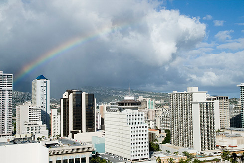 Showing slide 18 of 24 in image gallery, Honolulu, Oahu skyline with rainbow