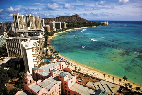 Showing slide 22 of 24 in image gallery, Waikiki hotels towards Diamond Head, Honolulu, Oahu