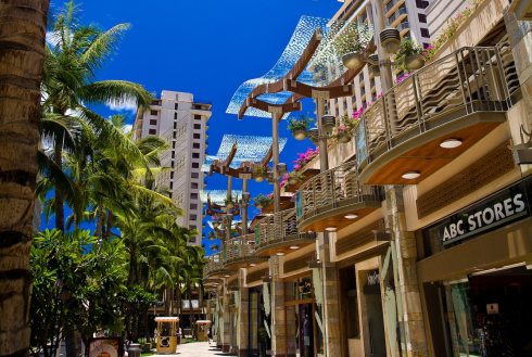 Showing slide 24 of 24 in image gallery, Waikiki Beach shopping district, Honolulu, Hawaii