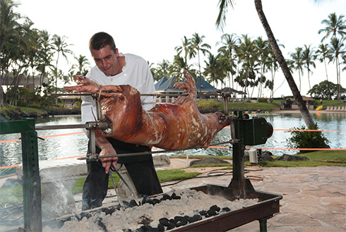 Showing slide 4 of 23 in image gallery, Pig roast, Kona, Hawaii