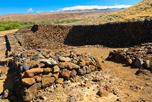 Showing slide 19 of 23 in image gallery, Historic site with rock wall, Kona, Hawaii