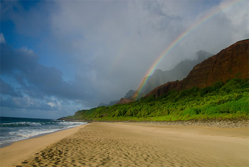 Showing slide 6 of 41 in image gallery, Napali Coast beach, Kapaa, Hawaii