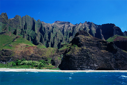 Showing slide 32 of 41 in image gallery, Napali Coast with mountains, Kauai