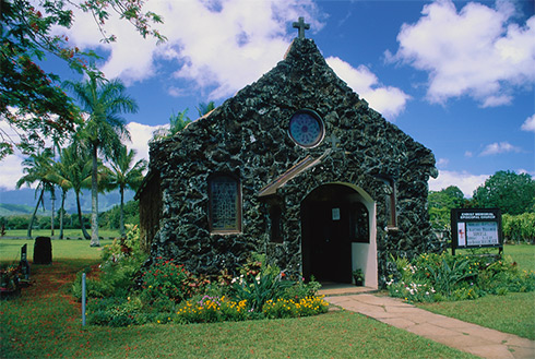 Showing slide 34 of 41 in image gallery, Old stone church, Kilauea, Kauai