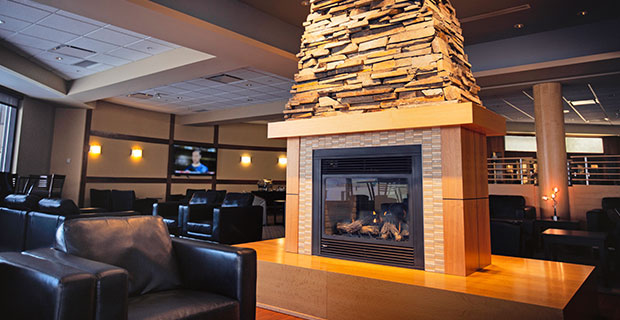 Fireplace in Chinook Lounge in Calgary Airport