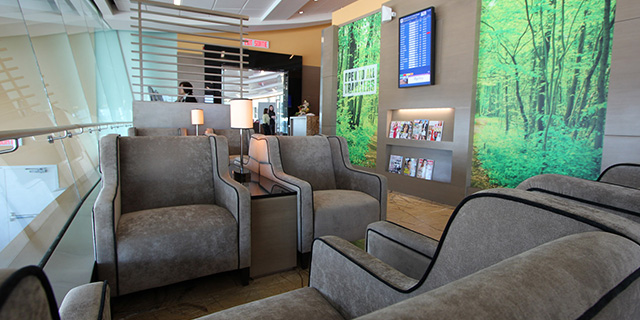 Comfortable seating in Plaza Premium Lounge in Edmonton Airport