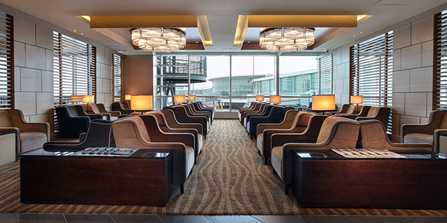 Comfortable seating in Plaza Premium Lounge in domestic departures Pier B YVR