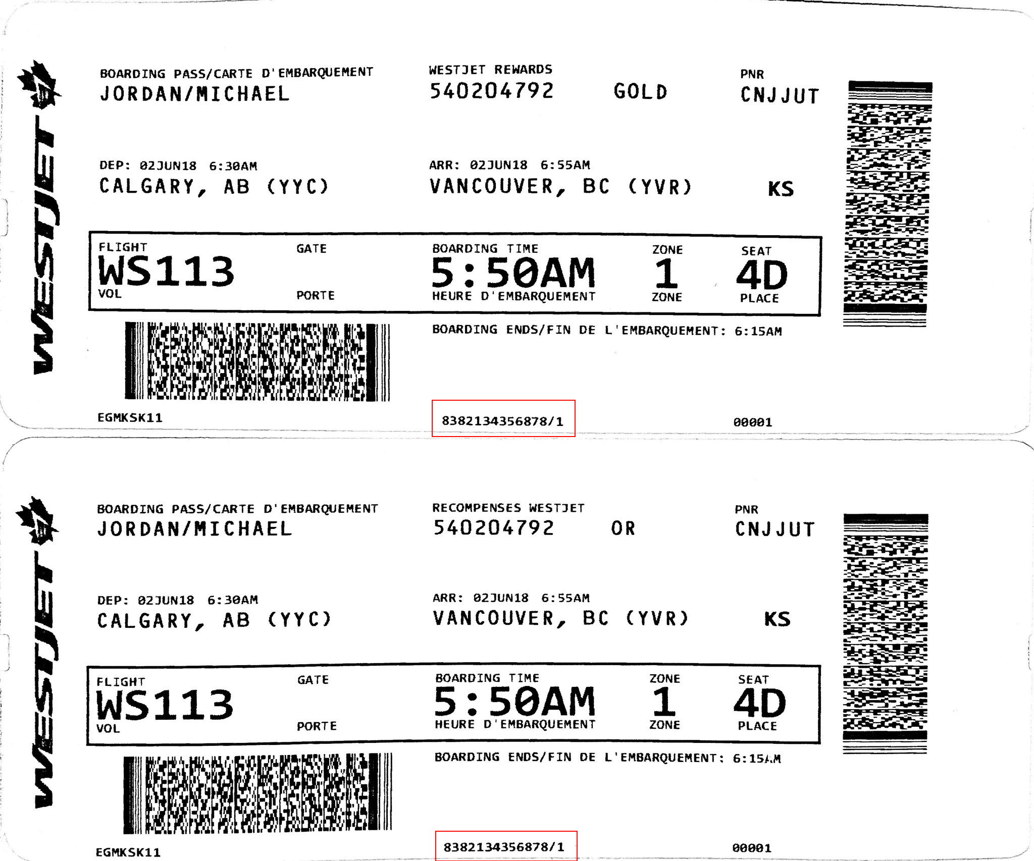 Boarding pass issued at an airport kiosk and by a customer service agent
