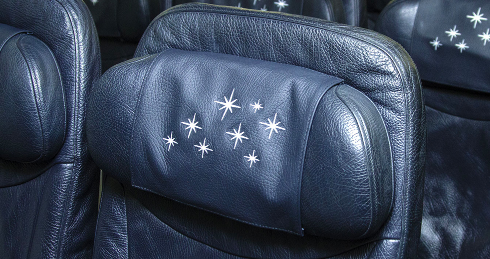 Disney plane headrest with magical embroidered stars
