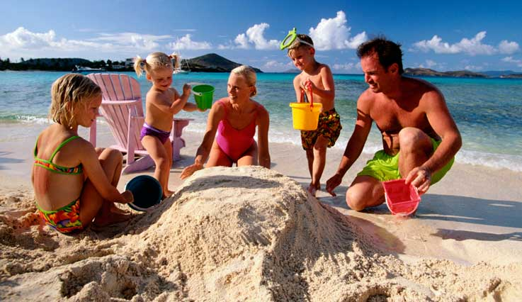 Family playing in the sand on vacation
