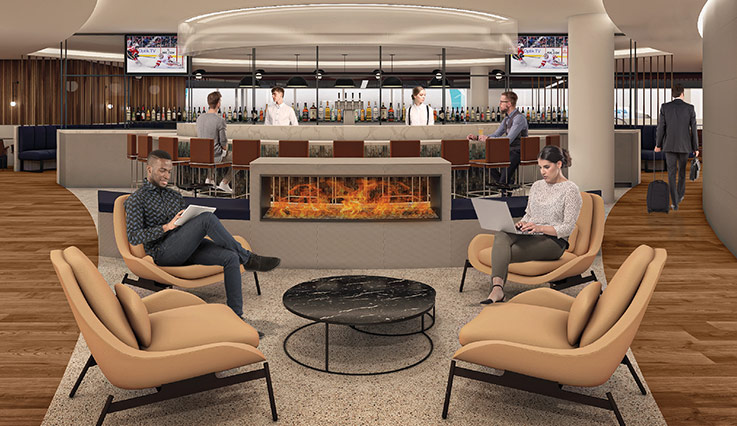 Artist's rendering of new WestJet lounge at Calgary International Airport