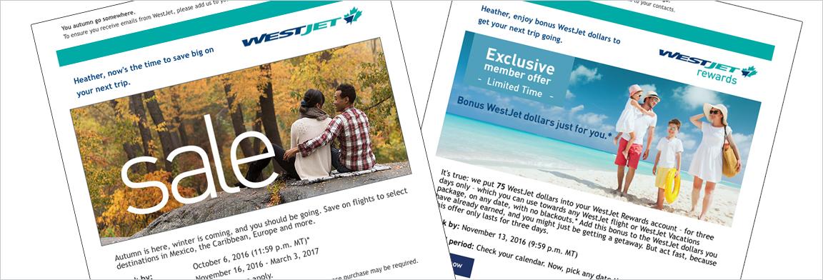Email Offers Westjet