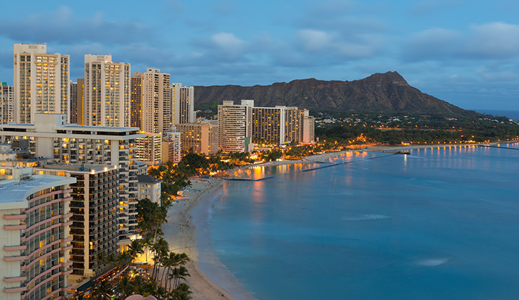 Honolulu beach strip at night