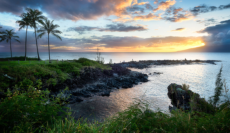 Beach cove at sunset, Kahului, Maui