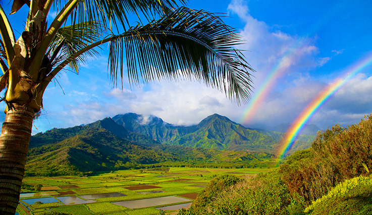 Kauai mountains with double rainbow