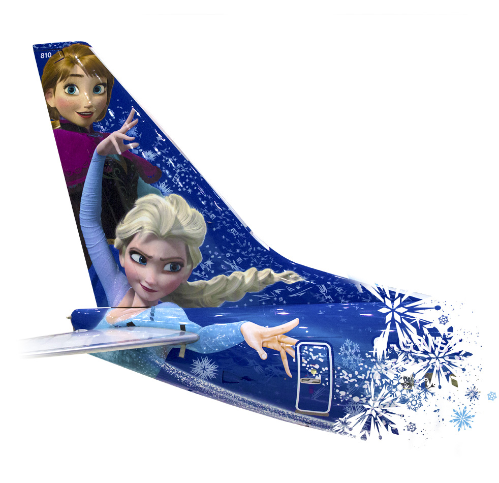 Tail of WestJet Disney plane painted with Anna and Elsa from Frozen