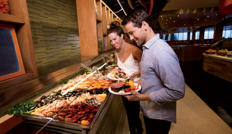 Receive two complimentary buffets per stay or a food and beverage credit at select MGM Resorts.