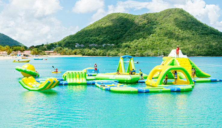 Inflatable Splash Island Water Park at Bay Gardens Resorts